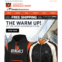 Warm Up in Bengals Outerwear & Get Free Shipping