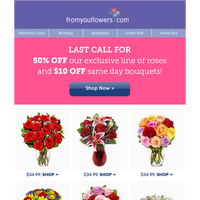 Up to 50% Off Valentine's Roses ENDS Tonight