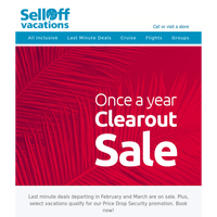 Our new Once a Year Clearout Sale!