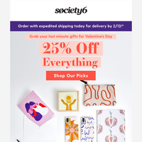25% Off Everything for Last-Minute Valentines
