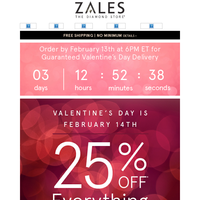 Hey Cupid! Don't Miss Your Chance to Save 25% Off EVERYTHING!
