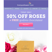 Today Only: 50% Off Roses and FREE Chocolates!