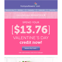 Valentine's Roses for $39.23 with your credit!