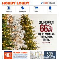 Online Only – 66% Off All Remaining Christmas Trees!