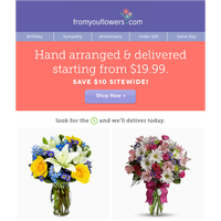 $19.99 for Full Service Flower Delivery!
