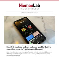 Spotify is gaining a podcast audience quickly. But it is an audience that isn't as interested in news?
