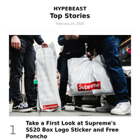 Your Top Stories: Take a First Look at Supreme's SS20 Box Logo Sticker and Free Poncho and More