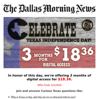 Celebrate TEXAS Independence Day! $18.36 for 3 months