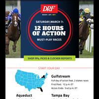 Handicap Saturday's Races with DRF: Gulfstream, Aqueduct, Tampa Bay, Oaklawn & Santa Anita!