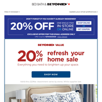 The sale is ON! Take 20% OFF bedding, furniture, window, lamps, and more! And don't forget to use your COUPON!