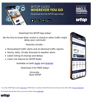 Download the WTOP App so you NEVER miss weather and traffic updates