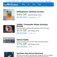 GIFExplainer Lifetime License, 10000+ Cinematic Photo Overlays Bundle, Saturn Radio, SysTools Pen Drive Recovery, Genie Timeline Professional, MyFormatConverter Basic at BitsDuJour Today