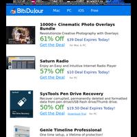 10000+ Cinematic Photo Overlays Bundle, Saturn Radio, SysTools Pen Drive Recovery, Genie Timeline Professional, MyFormatConverter Basic, RightNote at BitsDuJour Today