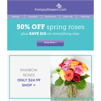 $24.99 Off Spring Roses Ends Tonight