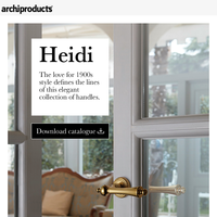 Door and window handles inspired by classical style of the 1900s: Heidi by Linea Calì