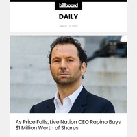As Price Falls, Live Nation CEO Rapino Buys $1 Million Worth of Shares (id:9334227)