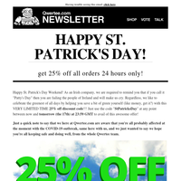 ☘🌈☘ HAPPY ST. PATRICK'S DAY! 25% off Discount Code inside this newsletter!