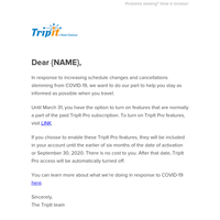 Account Update: TripIt's Response to COVID-19