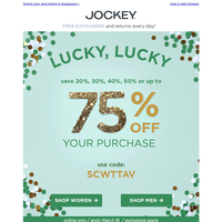 Happy St. Patrick's Day! Save up to 75% OFF