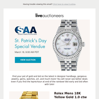 Seized Assets Auctioneers | St. Patrick's Day Special Vendue
