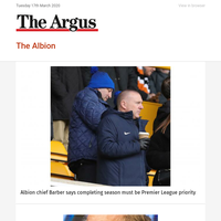 The Albion: Albion chief Barber says completing season must be  Premier League priority