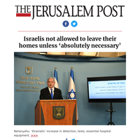Israelis not allowed to leave their homes unless 'absolutely necessary'