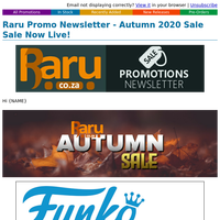 Raru Promo Newsletter - Autumn 2020 Sale Sale Now Live!
