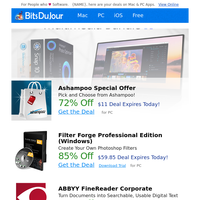 Ashampoo Special Offer, Filter Forge Professional Edition (Windows), ABBYY FineReader Corporate, Allavsoft, Folder Marker Pro + Extra Folder Icons Bundle, Hyper-V Recovery at BitsDuJour Today