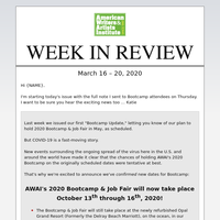 AWAI – Week in Review, New Bootcamp Dates, Spotlight Job of the Week, and More ...