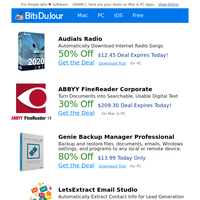 Audials Radio, ABBYY FineReader Corporate, Genie Backup Manager Professional, LetsExtract Email Studio, Professor Teaches Access 2019 at BitsDuJour Today