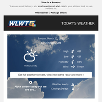 WLWT Weather Forecast for March 22, 2020