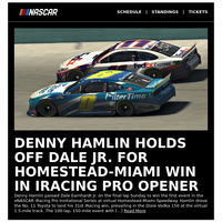 Down to the wire between Denny Hamlin, Dale Jr. in iRacing opener