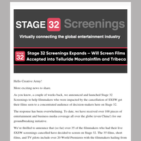 Stage 32 Screenings Expands – Will Screen Films Accepted into Telluride Mountainfilm and Tribeca