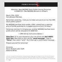 Attention: New NASDAQ Stock Profile Coming Tomorrow 9:30AM EST. (Two Winners In A Row?)