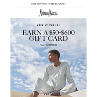 Your gift card offer is waiting! Earn up to a $600 reward