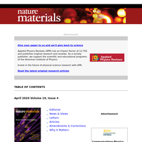 The latest research from Nature Materials, April 2020