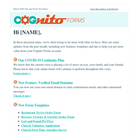 New Features, COVID-19 Update and More Free Templates