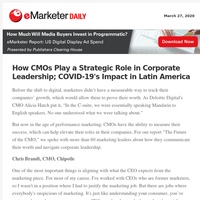 How CMOs Play a Strategic Role in Corporate Leadership; COVID-19's Impact in Latin America
