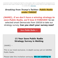 Save Public Radio: T. {NAME} → Not asking for money