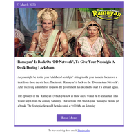 'Ramayan' Is Back On 'DD Network', To Give Your Nostalgia A Break During Lockdown
