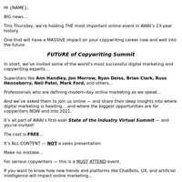 [FREE] VIRTUAL SUMMIT: Copywriting's future, COVID-19's impact, and more...