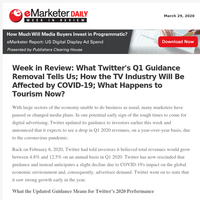 Week in Review: What Twitter's Q1 Guidance Removal Tells Us; How the TV Industry Will Be Affected by COVID-19; What Happens to Tourism Now?