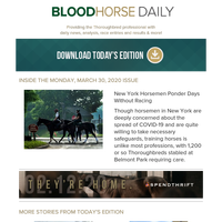 BloodHorse Daily for Monday, March 30