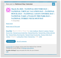 [New post] March 30, 2020 – NATIONAL DOCTORS DAY – NATIONAL VIRTUAL VACATION DAY – NATIONAL PENCIL DAY – NATIONAL I AM IN CONTROL DAY – NATIONAL TAKE A WALK IN THE PARK DAY – NATIONAL TURKEY NECK SOUP DAY