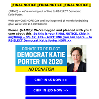 Katie Porter is disappointed