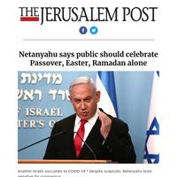 Netanyahu says public should celebrate Passover, Easter, Ramadan alone