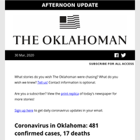Oklahoma coronavirus cases now at 481, abortion rights groups sue Stitt, Joe Diffie remembered by fellow country music stars and more