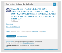[New post] March 31, 2020 – NATIONAL TATER DAY – NATIONAL CRAYON DAY – NATIONAL EQUAL PAY DAY – NATIONAL PROM DAY – NATIONAL BUNSEN BURNER DAY – NATIONAL CLAMS ON THE HALF SHELL DAY