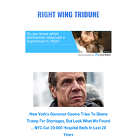 New York's Governor Cuomo Tries To Blame Trump For Shortages, But Look What We Found … NYC Cut 20,000 Hospital Beds In Last 20 Years | Right Wing