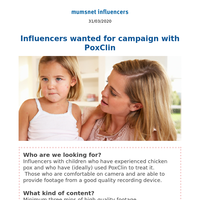 Influencers wanted for campaign with PoxClin